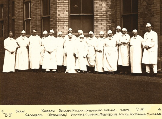 Annotated group photograph of the Gynaecological Visiting Society in Cardiff in 1925, featuring RCOG co-founders William Blair-Bell and William Fletcher Shaw (from left).